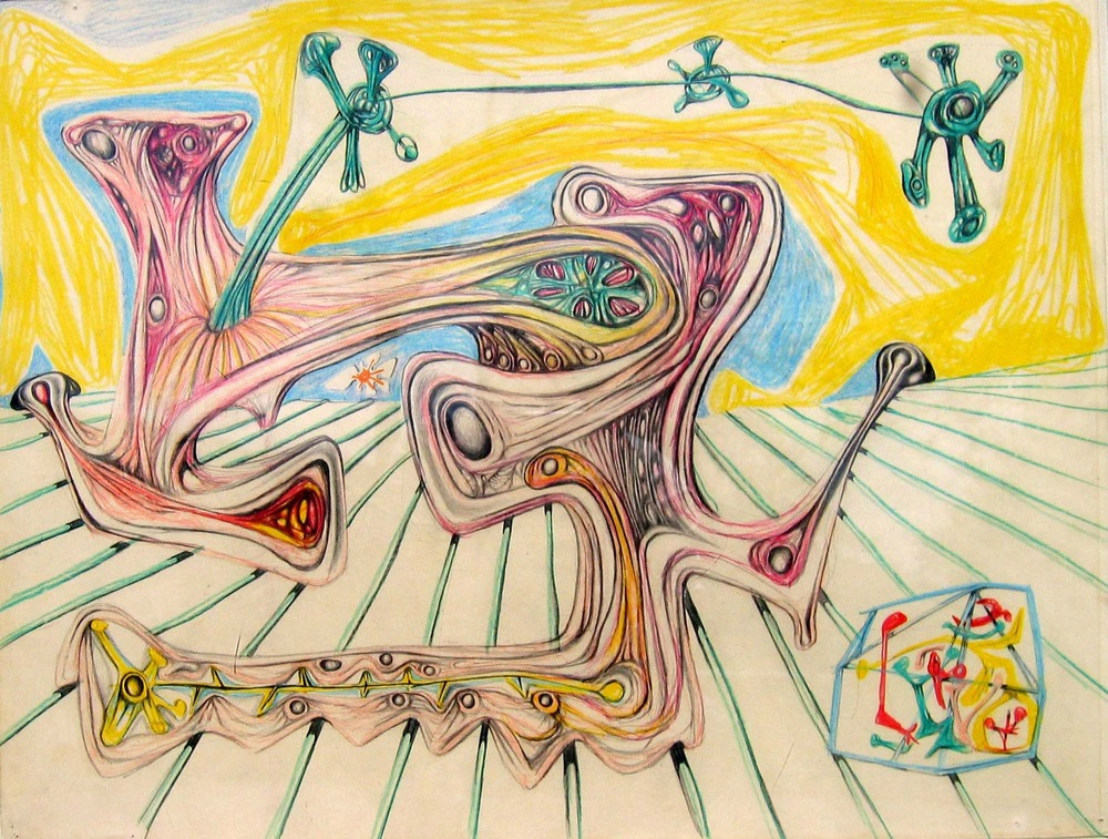 Roberto Matta Star, Flower, Personnage and Stone Colored pencil, pastel on paper, 1938