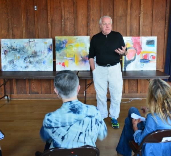 Jeremy Morgan discussing artist Shanna Bruschi's work