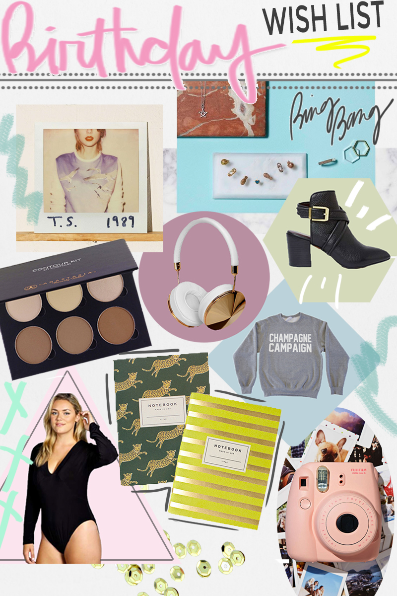 Urban Outfitters    '1989' on Vinyl  |  Bing Bang NYC   Midi Rings  |  Anastasia Beverly Hills    Contour Kit  | Frends   Headphones  |  NastyGal    Report Turner Leather Bootie  |  Shop Private Party    Champagne Campaign Sweatshirt  |  Rifle Paper Co.    Safari Pocket Notebook Set  |  Boohoo Official    Plunge Neck Bodysuit  |  Urban Outfitters    Pink Fuji Film INSTAX Camera