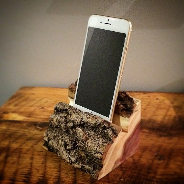 Live edge phone or tablet bases