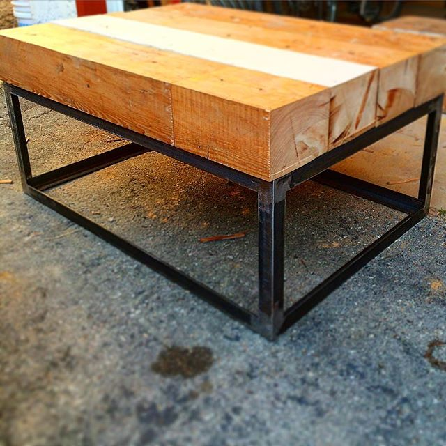 Fir timber coffee table in early stages