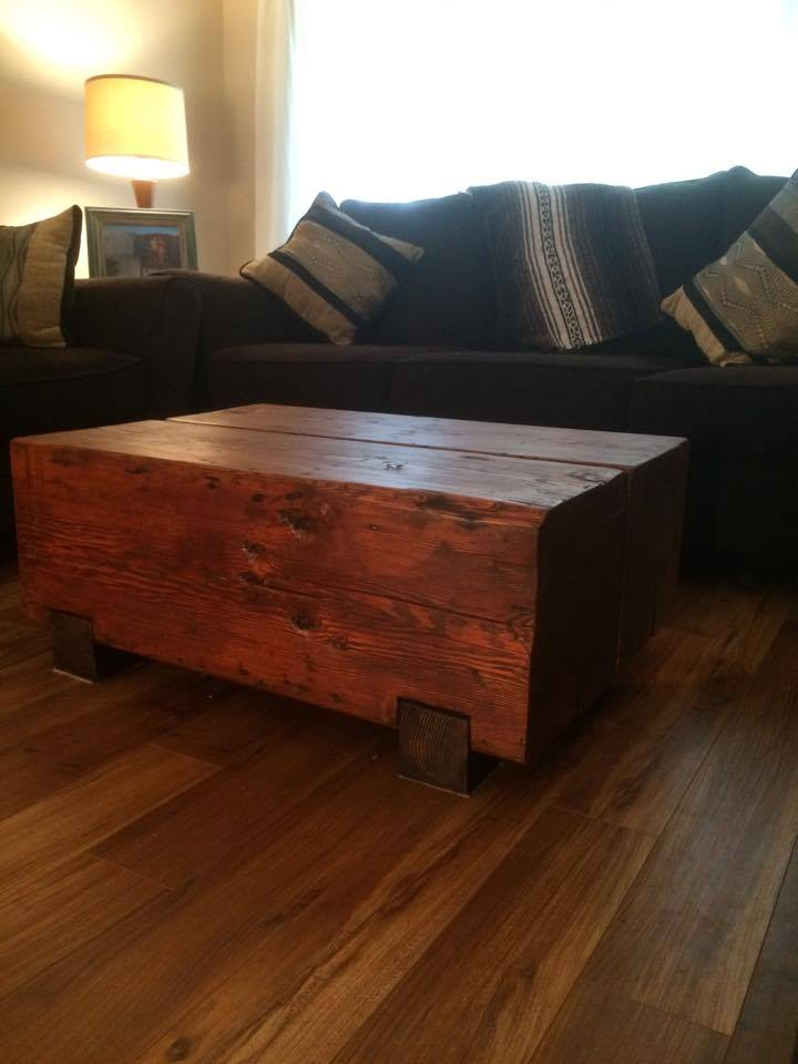 Reclaimed timber coffee table on Oak skids