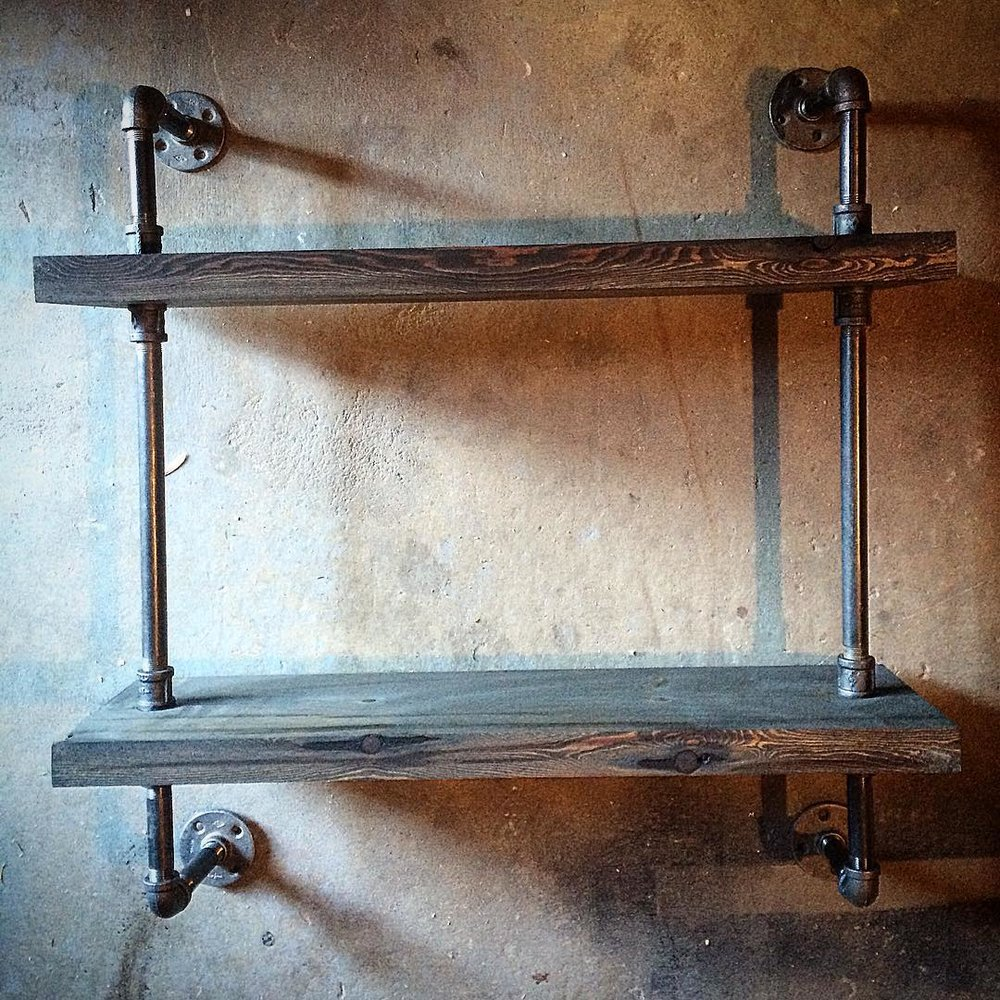Cast Iron plumbers pipe and reclaimed wood shelving unit