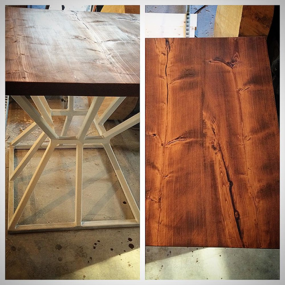 A closer look at our reclaimed fir table top and geometric kitchen table base