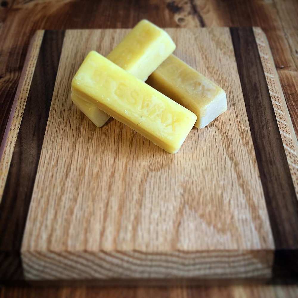 All of our cutting boards are finished with locally produced beeswax, making them food safe and water sealed