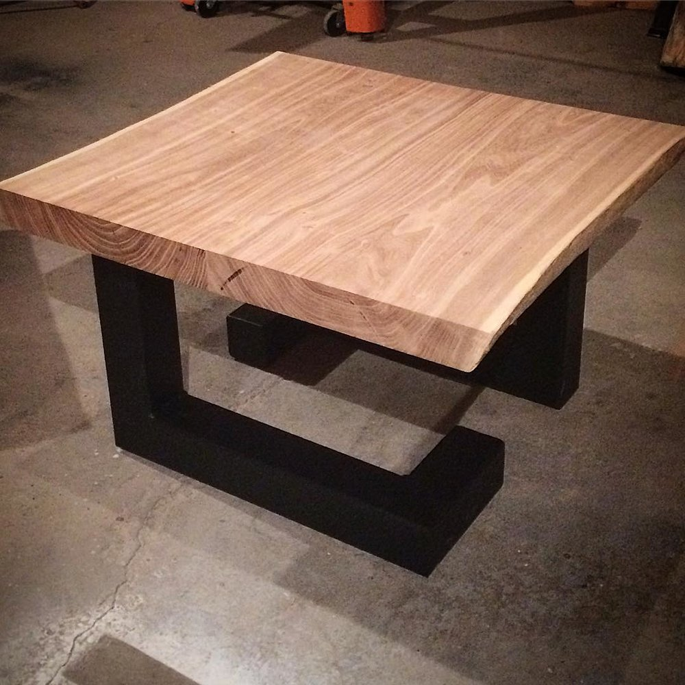 "Custom live edge elm compact coffee table - 24""x28"" on 3"" square steel geometric base"