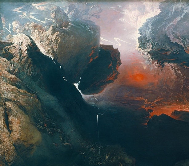 A section of the 1853 painting The Great Day of His Wrath by John Martin