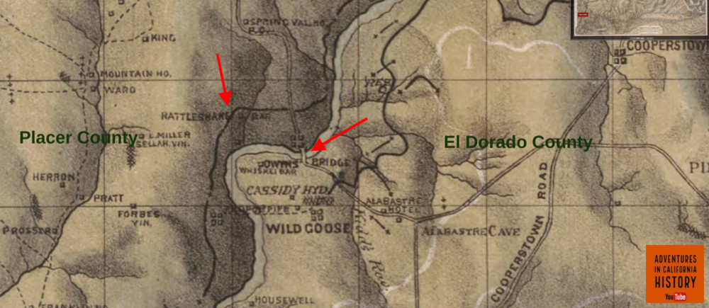 1873 map of The Georgetown Divide