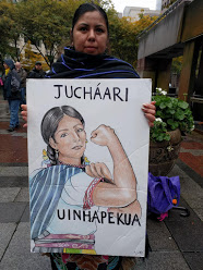 A comrade at Indigenous People's Day, October 11th, in downtown Seattle (used with permission)