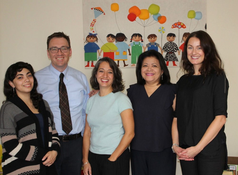 l-r: Nathalie Henaine, Psychology Intern, Jim Grabowski, LCPC, Training Coordinator, Sinane Goulet, LCSW, Angela Sedeno, PhD, Executive Director, Eva Ledoux, Counseling Intern.