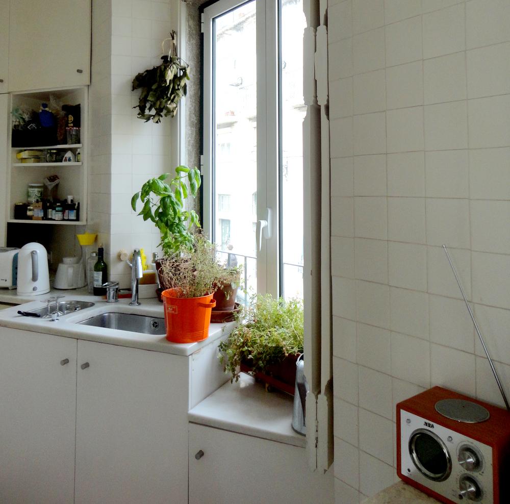 uma cozinha portuguesa, com certeza - rádio para dar conversa de fundo e aromas à mão de cozinhar.