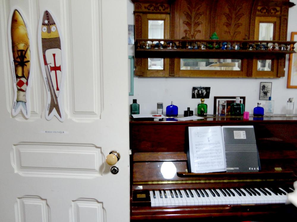 o piano do músico.