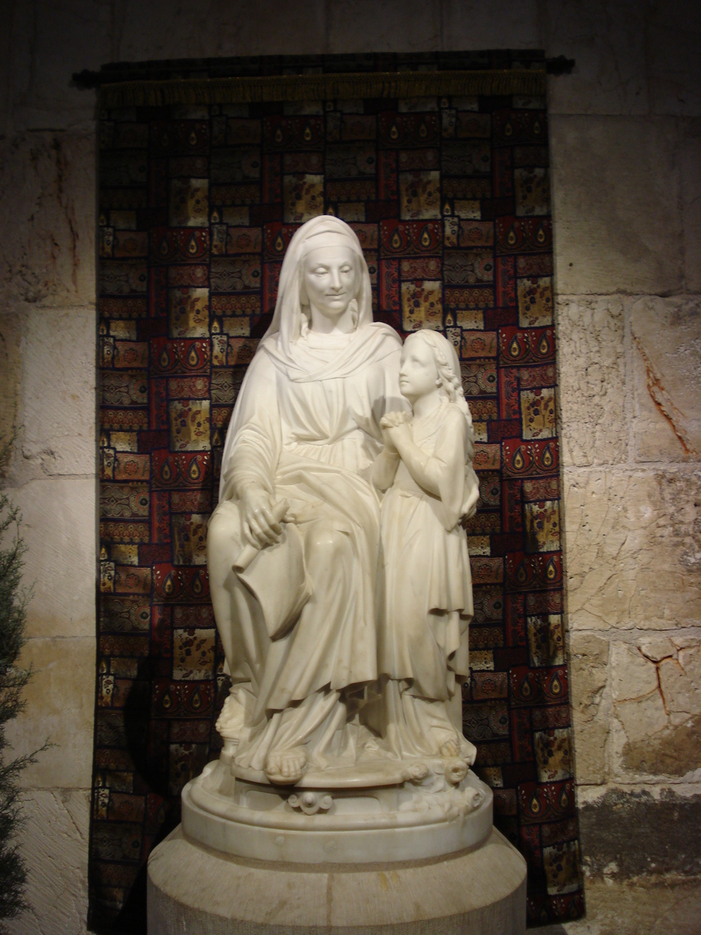 St. Ann with a young Mary - statue in Jerusalem, Israel