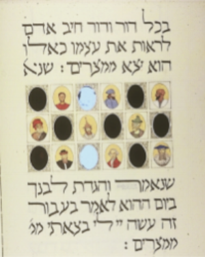 """In every generation, each person is obligated to view himself as if he had come out of Egypt."" The artist created elliptical portraits of Jewish people from various eras—as well as a few mirrors—in order to include the viewer among them. My Haggadah: The Book of Freedom by David Moss, 2015."