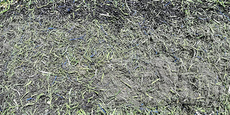 artificial turf trash & debris buried in infill