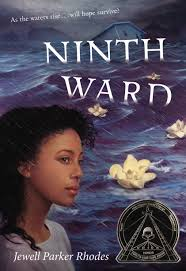 "NINTH WARD by Jewell Parker Rhodes    ""This morning, though, Mama Ya-Ya frowned at the mirror like she could see some other world inside it. 'Mr. Death is losing patience. He'll come and ferry me down the Mississippi. I'll put on my feathered hat. Wave like I'm in a Mardi Gras parade.'""    read 7/12/14"