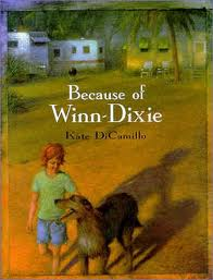 "BECAUSE OF WINN-DIXIE by Kate DiCamillo    ""I wondered if my mama, wherever she was, had a tree full of bottles; and I wondered if I was a ghost to her, the same way she sometimes seemed like a ghost to me.""     read 7/1/14"
