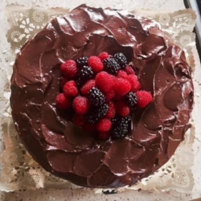 Vegan Gluten-Free 100% Chocolate Cake with Fresh Berries