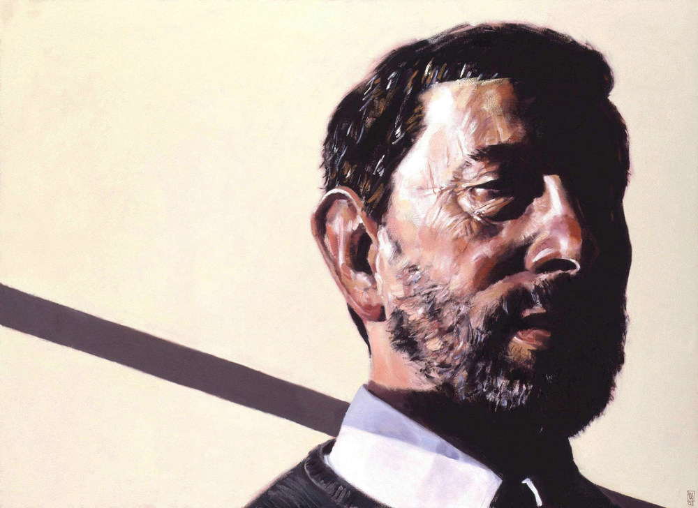 The Rt. Hon. David Blunkett as Home Secretary (Collection of the Palace of Westminster). 3 x 4 foot. Oil on canvas.