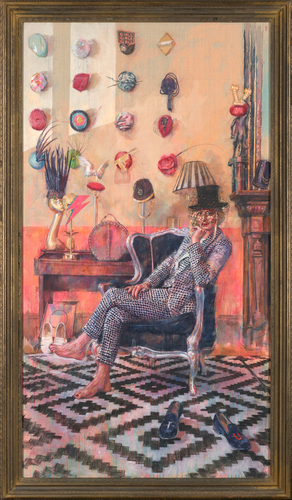 The Milliner .  240 x 140 cm. Acrylic and oil on sized french linen.