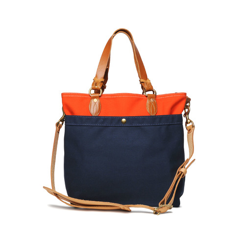 Medium Canvas Tote - Orange x Navy — YUKETEN