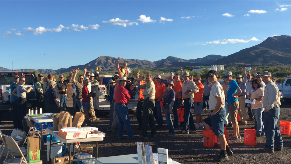 10/01/16 - Desert Trash Cleanup Project with volunteers outside the town of Superior on Tonto National Forest land.Click HERE to view the entire restoration.
