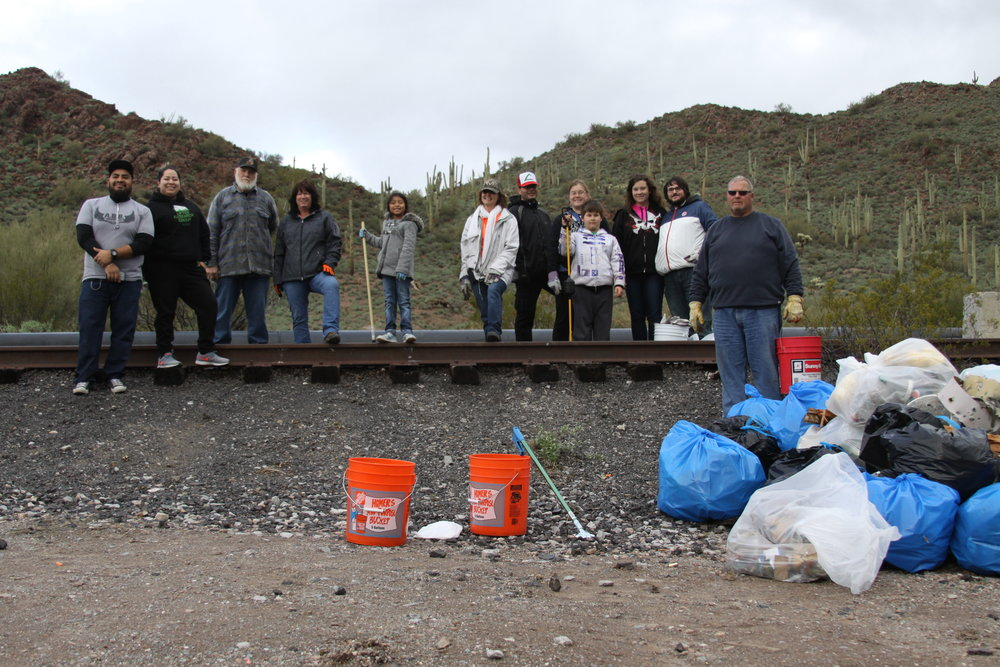 01/21/17 - Desert Trash Cleanup Project with Volunteers North of US-60 from Gold Canyon to Superior. Sites on both AZ State Trust land & the Tonto National Forest.  Click HERE to view the entire restoration.