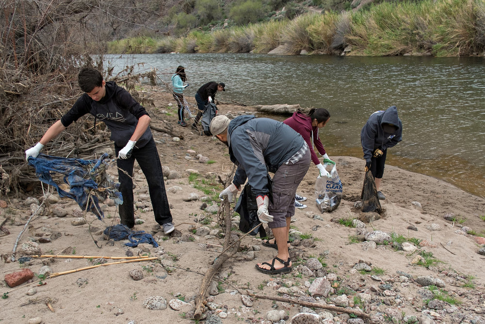 02/18/17 - Lower Salt River Cleanup with volunteers  at Phon D Sutton, Sheep's Crossing, & Blue Point. Click HERE to view the entire restoration.