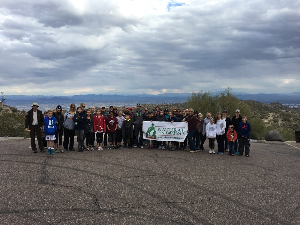 01/14/17 South Mountain Gila Lookout Cleanup with 6th Graders, teachers and parents from San Tan Elementary.