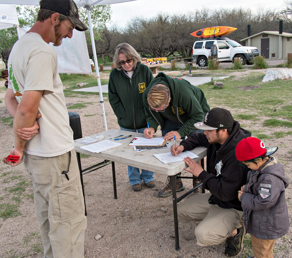 Members of the OHV Community, including TRAL members, sign-in for the cleanup.