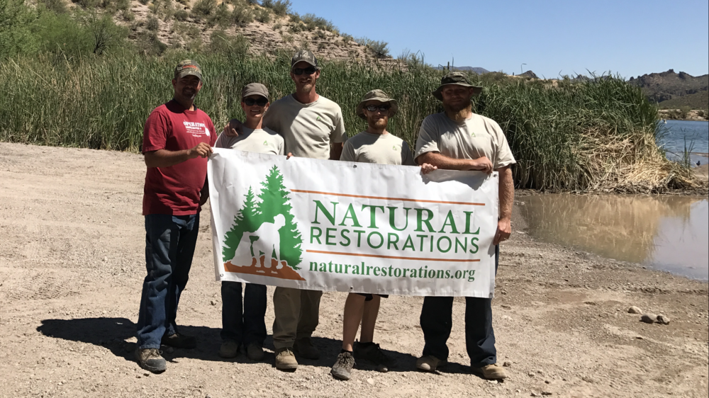 April 2017 Butcher Jones OHV Area Cleanup Project - Our Dedicated Restoration Team removed 7,620 pounds of trash from Butcher Jones OHV Area,including nails from pallet fires illegally burned on roads and trails, OHV & 4X4 parts,clothing, camping trash, broken glass, plastic bags & wrappers, a broken tent,plastic & glass bottles, aluminum cans, mattresses & boxsprings, rolls of carpet & padding, televisions, appliances, a water heater, piles of household tile including a large dump site with Saltillo tile,and lots of scattered trash. We also put out an abandoned fire still burning at one of the coves. Check out these pictures from our project:
