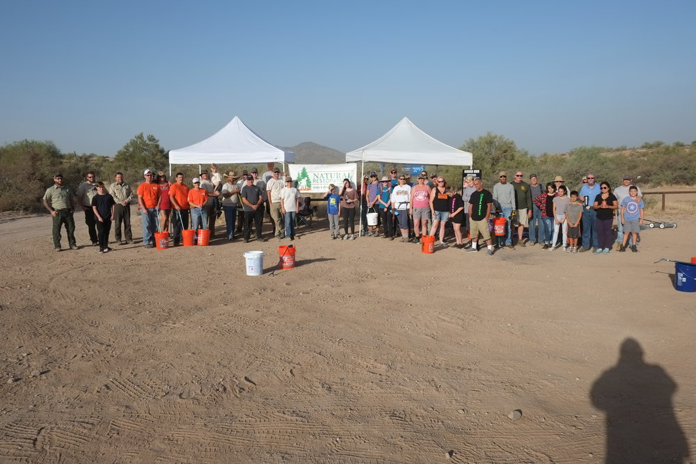 10/21/17 - Lower Sycamore Cleanup Project. More than 46 volunteers joined to removed trash scattered throughout the OHV areas and trails.  Click HERE to view the entire restoration.