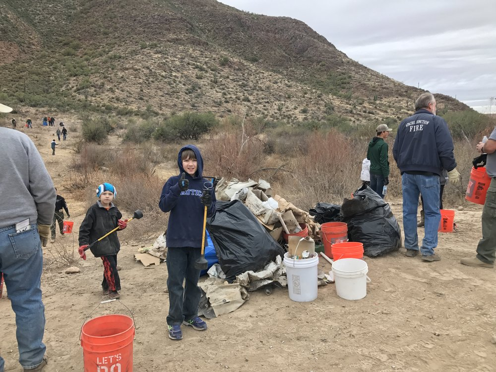01/20/18 - 9th Annual Footprints Matter To Us Environmental Stewardship Event with volunteers north of US-60 from Gold Canyon to Superior. Sites on both AZ State Trust land & the Tonto National Forest.  Click HERE to view the entire restoration.