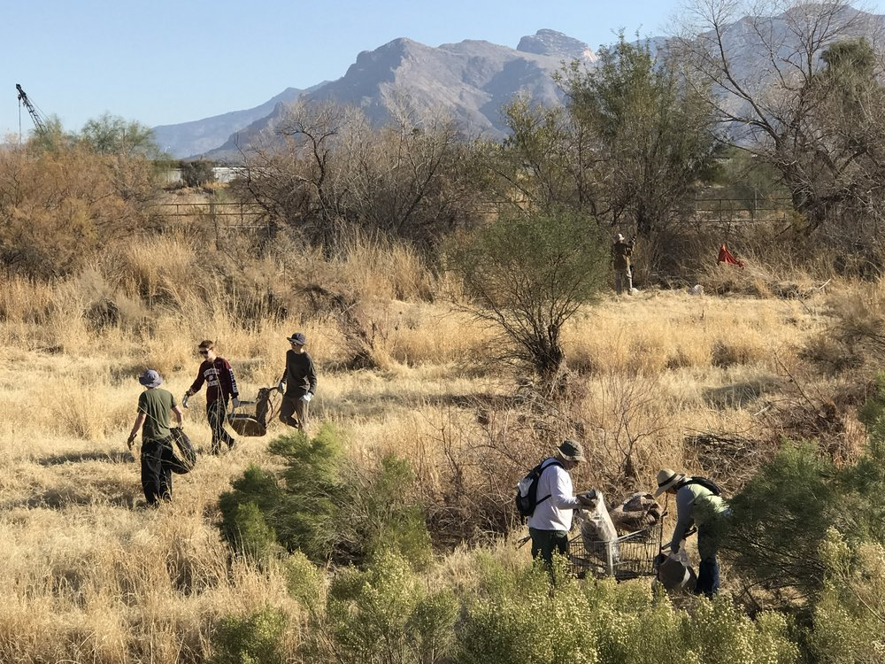 02/03/18 - Santa Cruz River Cleanup Project from Camino Del Cerro to Sunset Road. This was our first Tucson Cleanup.  Click HERE to view the entire restoration.