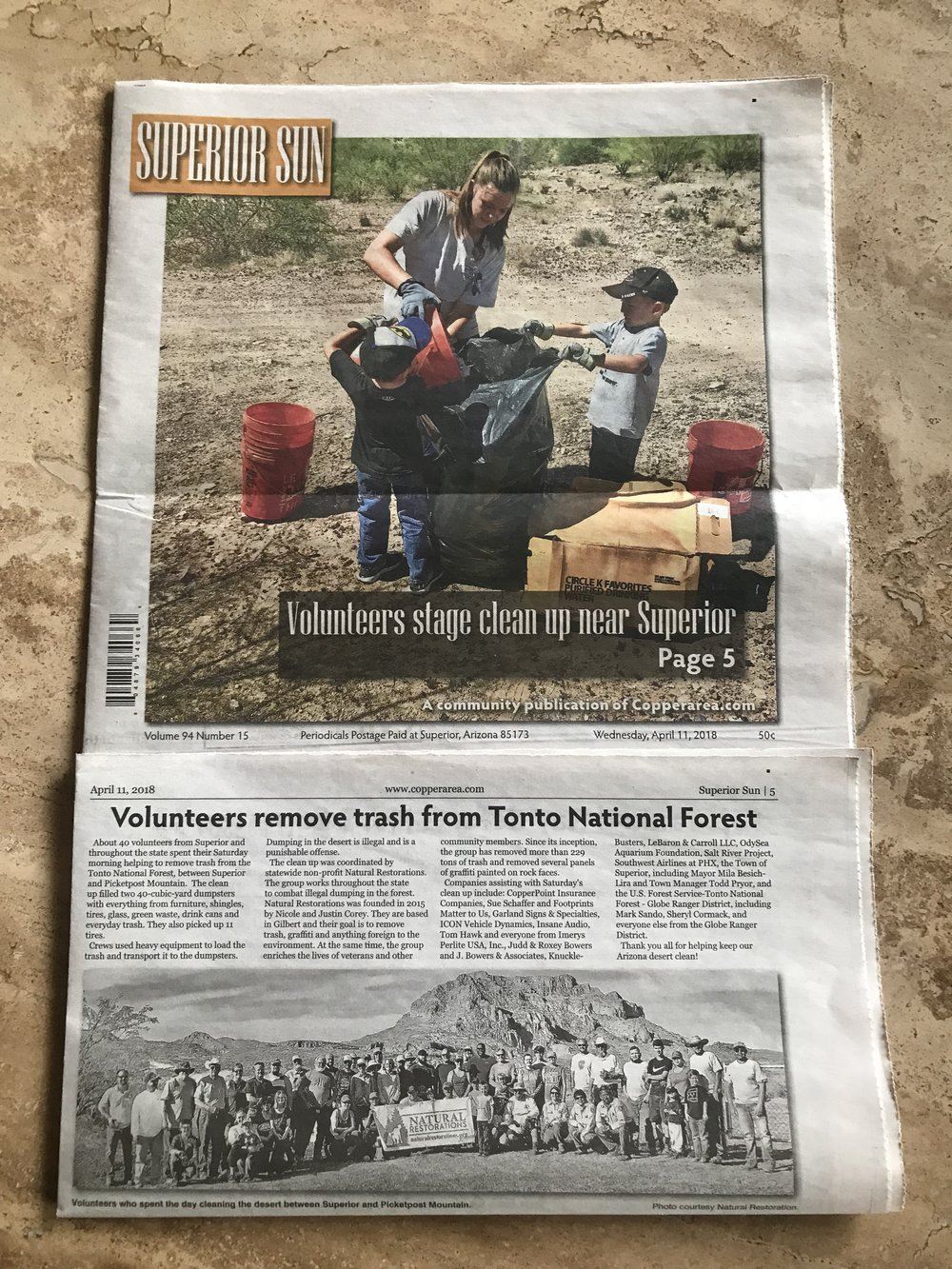 Superior Sun - Featured our Desert Cleanup on the front page!