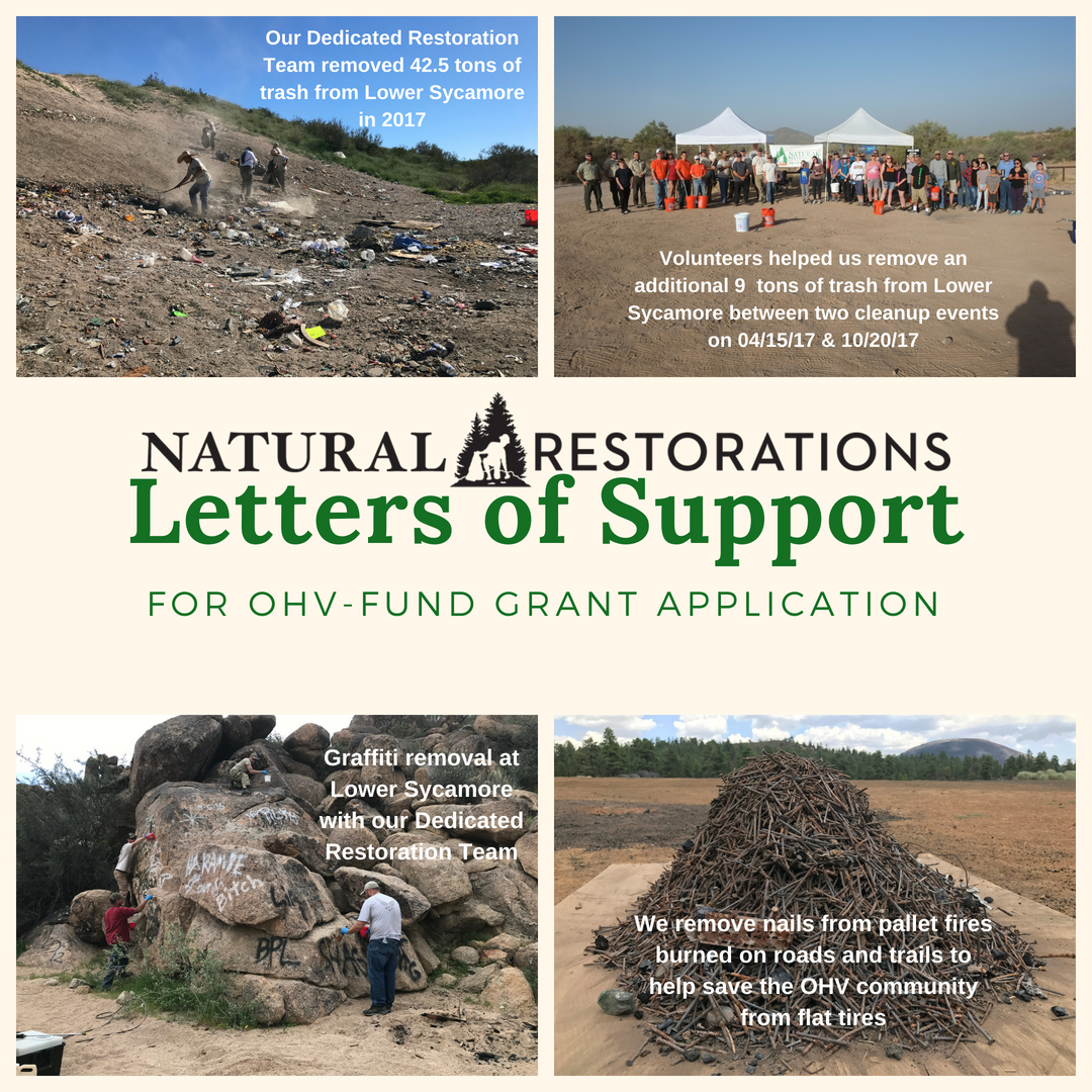 Letters of Support for OHV-Fund Grant Application — Natural Restorations