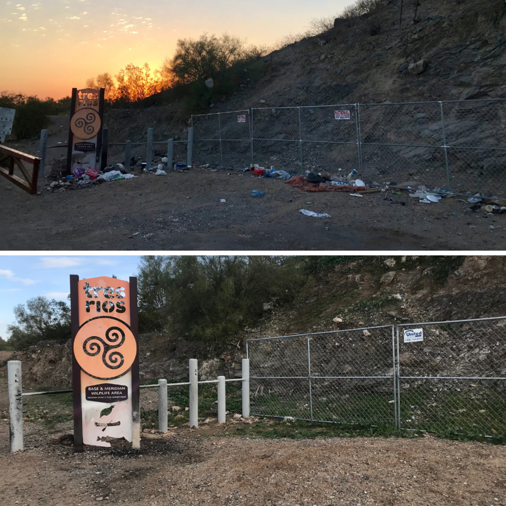 Before & After: the entrance to a Wildlife Area should never look like the top photo. We are grateful to all of the volunteers who helped us clean up all of the trash!
