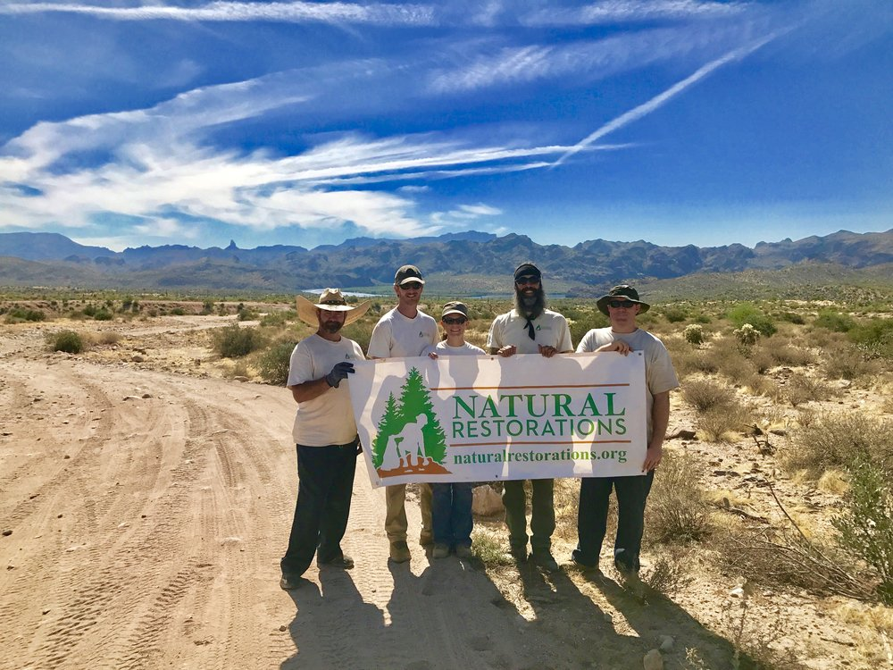 October 2017 Butcher Jones OHV Area Cleanup Project - Our Dedicated Restoration Team removed 11,060 pounds of trash from Butcher Jones OHV Area, including nails from pallet fires illegally burned on roads and trails, OHV & 4X4 parts and several windshields, shooting trash, clothing, camping trash, broken glass, plastic bags & wrappers, a shade canopy, plastic & glass bottles, aluminum cans, a mattress and a giant foam bean bag, a burned recliner, televisions, lots of scattered trash, and much more. Check out these pictures from our project: