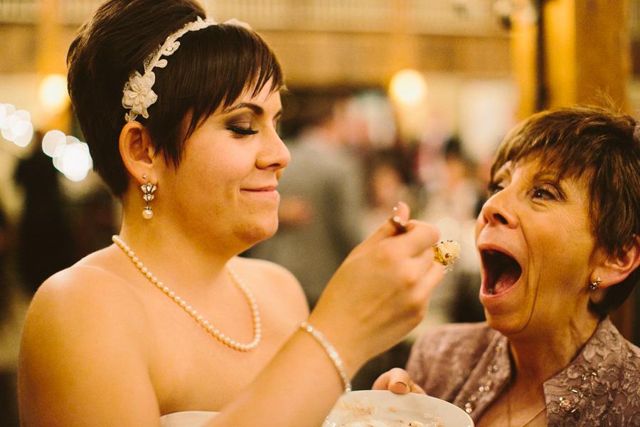 Bride feeds mom