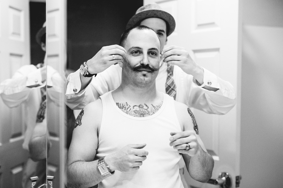 Groom Fixing Moustache