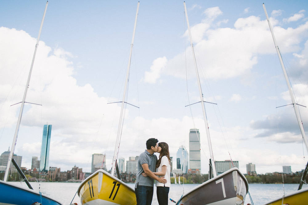 Boston Skyline Engagement Photo