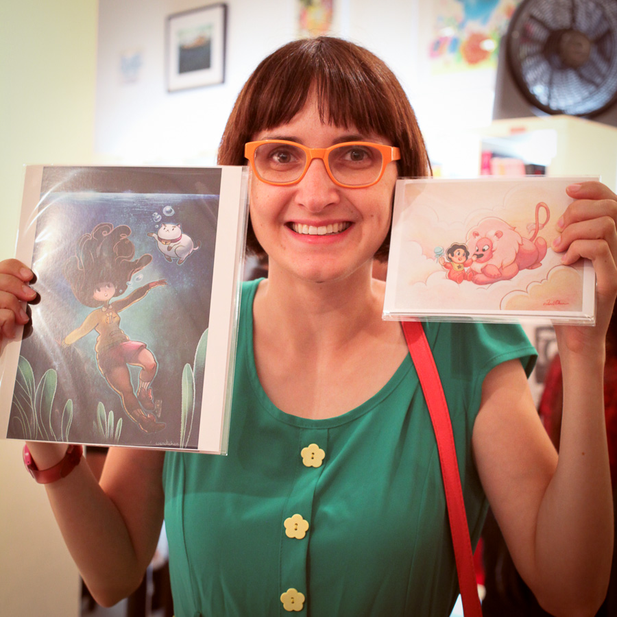 Becky Dreistadt with my art prints!