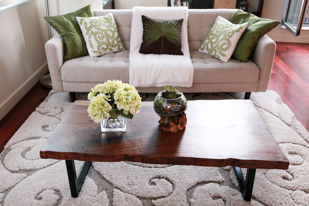Bloom Sofa (Dania Furniture) and Walnut Live Edge Slab Table