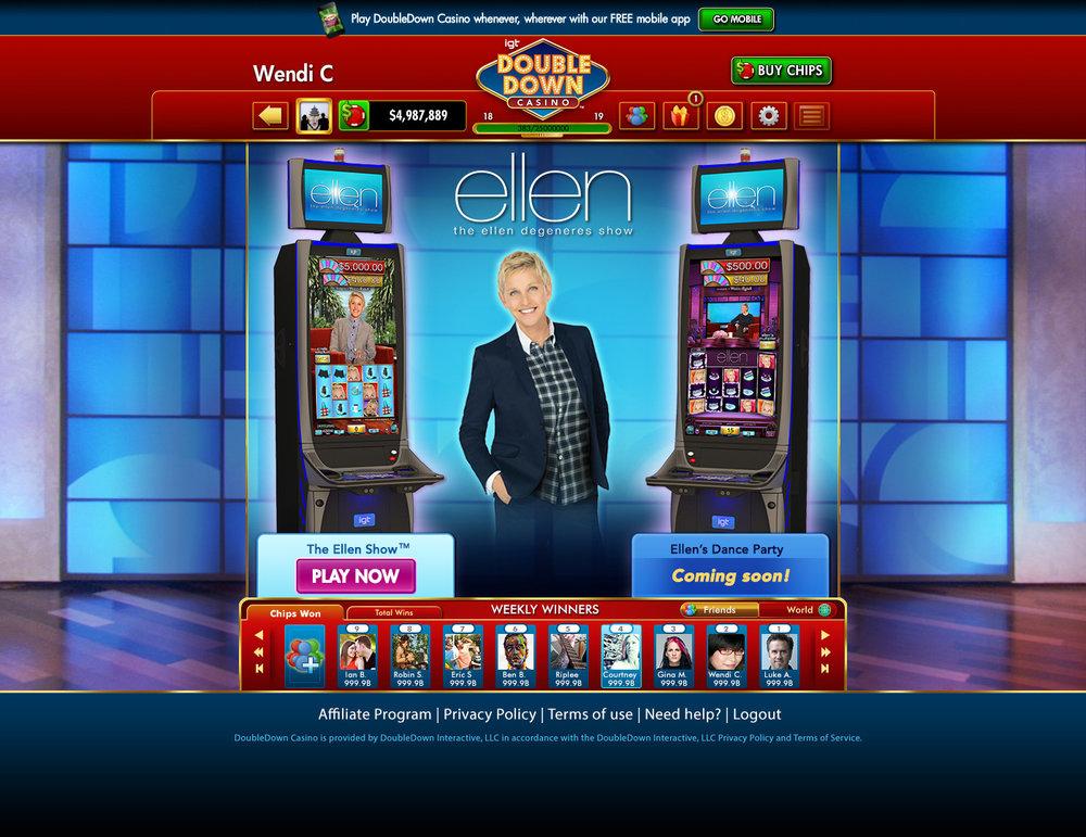 Ellen Slots - Game Selection Screen