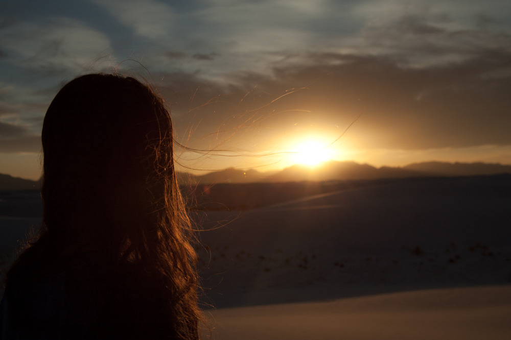 Rebecca, before a dramatic sunset    [May, 2013; White Sands National Monument, NM]