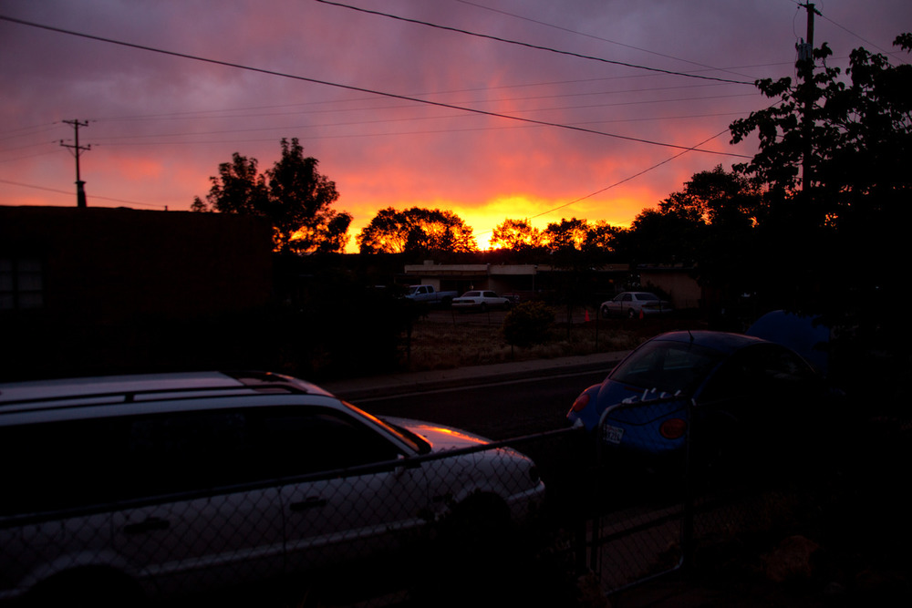 Speaking of the sun, here's what it looks like when it sets in Santa Fe.    [June, 2012;  Santa Fe, NM]