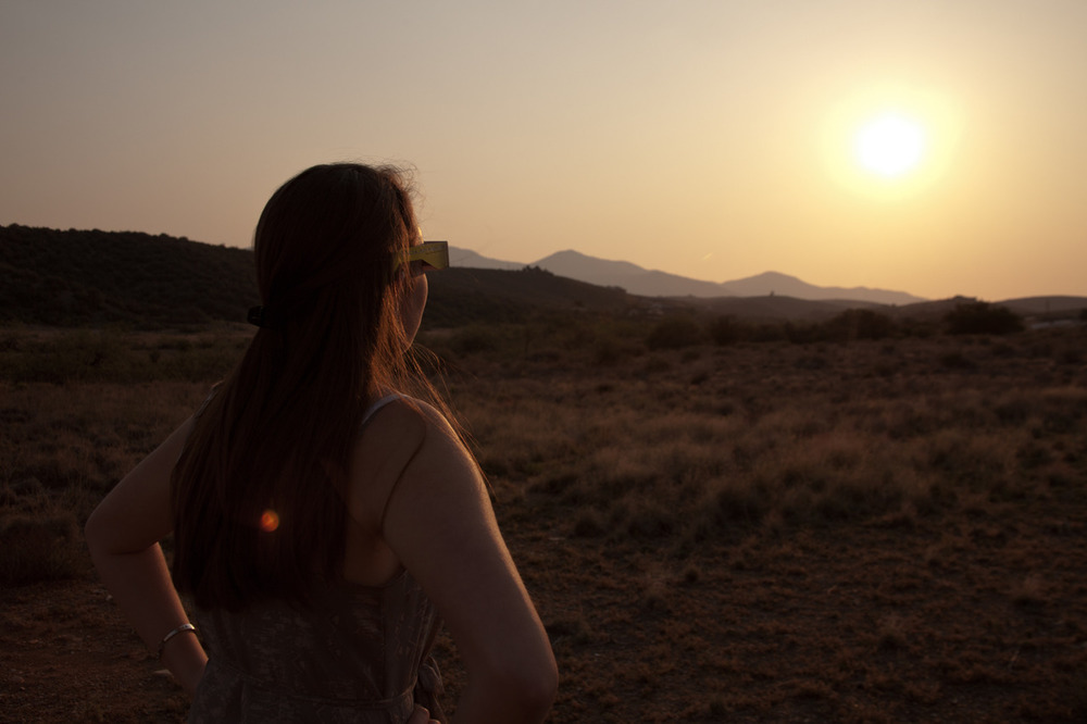 Jackie, during the solar eclipse    [May, 2012; outside of Phoenix, AZ]
