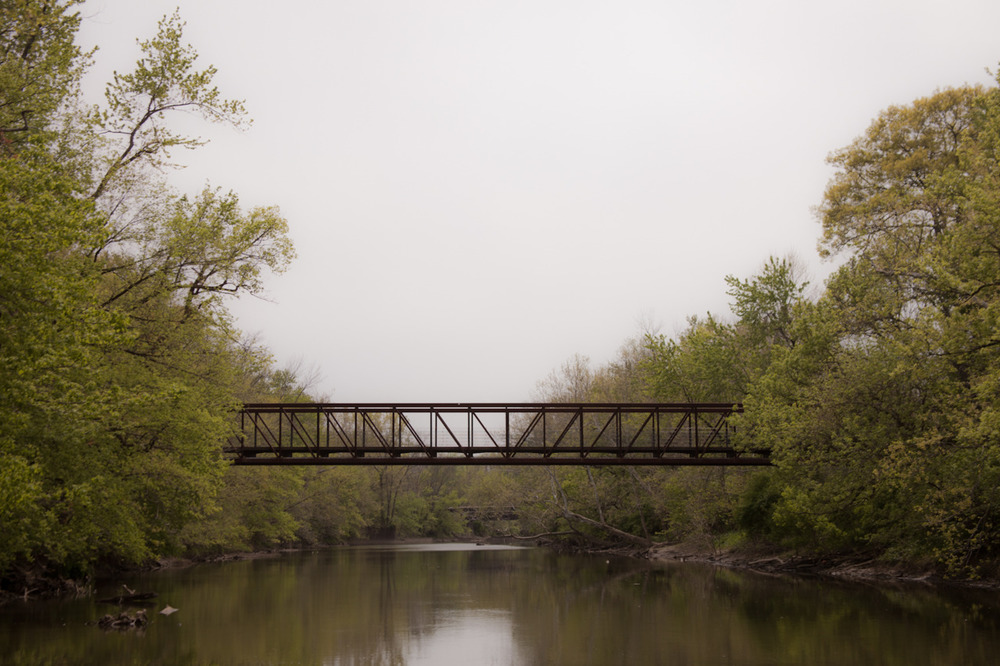 Not quite a rope bridge, but close enough.       [April 17, 2012; Three Creeks Metro Park, OH]