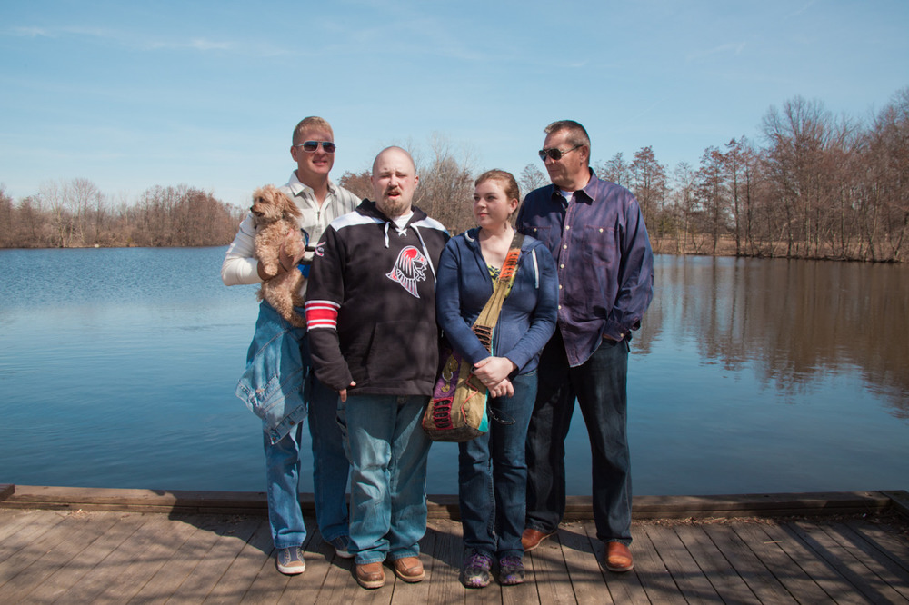 Oh, look what I found!  This is some of my family back in March when my sister and her fiancé visited Columbus.  We spent one afternoon at Sharon Woods Metro Park (my idea, obviously).  And of course, a portrait in front of the lake was in order.  They'll all hate this image, but I think it's great. From left to right we have:  Monty (9-year-old yorky-poo), Ken (dad's partner), Robert (Rachel's fiancé), Rachel (older sister), Dad (dad) [from the recent archives; March, 2012; Sharon Woods Metro Park, OH]