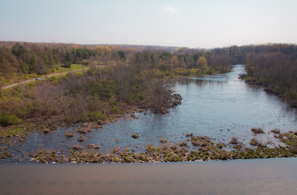 Big Darby Creek, as seen from the top of Hoover Dam     [April 1, 2012; Westerville, OH]